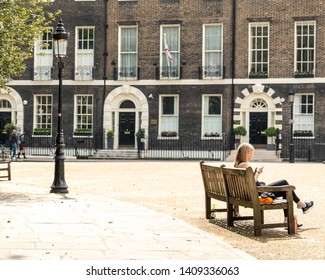 LONDON- MAY, 2019: Bedford Square, a beautiful Georgian garden square in Bloomsbury are of central London- off Tottenham Court Road