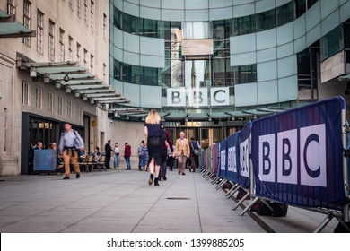 LONDON- MAY, 2019: British Broadcasting Corporation (BBC) headquarters building on Portland Place