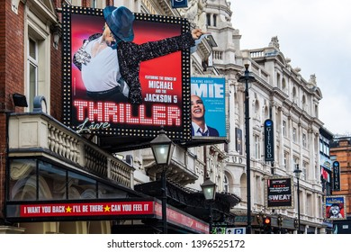 LONDON- MAY, 2019: Exterior of the Lyric theatre on Shaftesbury Street in London's West End- currently showing 'Thriller Live' celebrating the career of Michael Jackson