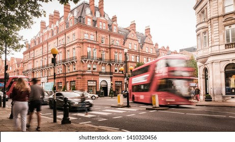 LONDON- MAY, 2019: Motion blurred view of Sloane Square, an upmarket area of Chelsea / Knightsbridge