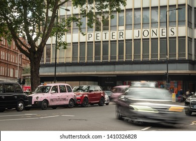 LONDON- MAY, 2019:   Peter Jones  department store on Sloane Square, Chelsea, London. A department Square in upmarket shopping destination in south west London
