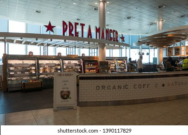 LONDON - MAY, 2019: Pret A Manger restaurant. Pret A Manger is a British sandwich retail chain, the first shop was opened in London in 1984 by Jeffrey Hyman.
