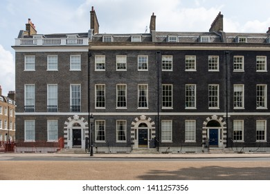 LONDON- MAY, 2019: A row of beautiful Georgian townhouses in Bedford Square, Bloomsbury