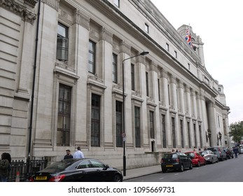 LONDON - MAY 21, 2018: General view of the iconic  Freemason Hall the headquarters of the United Grand Lodge and Supreme Grand Chapter of Royal Arch Masons of England