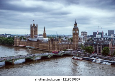 London - May 23, 2017: Palace of Westminster and Westminster Bridge seen from London Eye. The Palace of Westminster is the meeting place of the two houses of the Parliament of the United Kingdom.