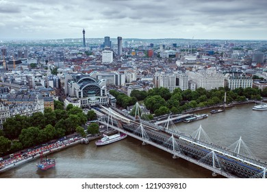 London - May 23, 2017: View of Hungerford Bridge seen from the London Eye. It is a steel truss railway bridge flanked by two more recent pedestrian bridges  which are named the Golden Jubilee Bridges.