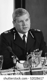 LONDON - MAY 23: John Smith, Assistant Deputy Commissioner of the Metropolitan Police Force, speaks at a press conference at New Scotland Yard on May 23, 1990 in London.