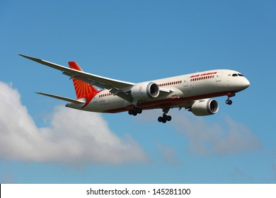 LONDON - MAY 25: An Air India Boeing 787 Dreamliner on approach on May 25, 2013 in London. The Boeing 787 is the world's first airliner to use composite materials in the construction of its airframe.