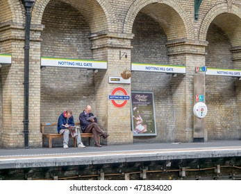 LONDON - MAY 25: Real scene on platform of Notting Hill Gate underground station in London, England, was taken on May 25, 2016.