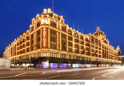 LONDON - MAY 27: Harrods department store in London, England on May 27, 2013. Harrods is the biggest department store in Europe and has over one million square feet of retail space.