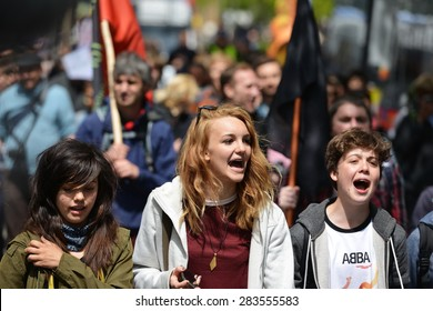 LONDON - MAY 30: Protesters rally against public sector spending cuts following the re-election of the Conservative party on May 30, 2015 in London, UK. The government plans severe austerity measures.