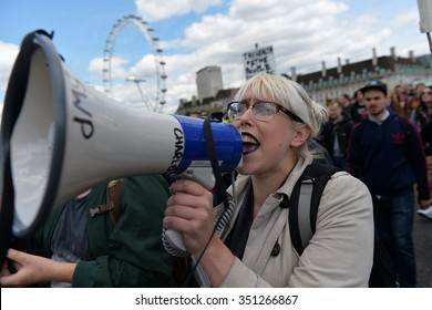 LONDON - MAY 30: Protesters rally against public sector spending cuts following the re-election of the Conservative party on May 30, 2015 in London, UK. The government plan severe austerity cuts.