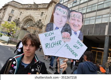 LONDON - MAY 30: Protesters rally against public sector spending cuts following the re-election of the Conservative party on May 30, 2015 in London, UK. The government plan severe austerity