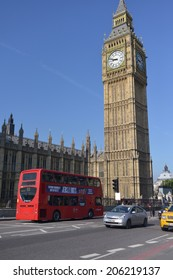 LONDON - MAY 31, 2014: Big Ben is the name of the bell inside the clock tower, located along the Thames in London.