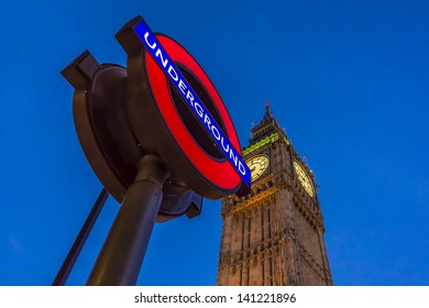 LONDON - MAY 31: Night view of London Underground subway sign in front of famous Clock Tower (now officially called the Elizabeth Tower) with bell Big Ben at Westminster, on May 31, 2013 in London