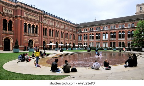 LONDON - MAY 6, 2017. The John Madejski Garden in the heart of the Victoria & Albert Museum. The 1852 building houses the world's largest collection of decorative arts and design, located in London.