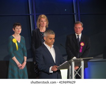London, May 7th 2016: Newly elected Mayor of London, Sadiq Khan, gives his victory address at City Hall. Behind him are defeated candidates Caroline Pidgeon, Sophie Walker and Peter Whittle