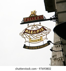 LONDON - MAY 8: English pub sign, Public house, known as pub, is focal point of the community, on May 8, 2010, London, UK. Pub business, now about 53,500 pubs in UK, has been declining every year