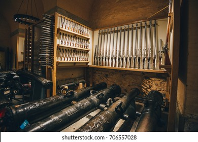 LONDON - MAY 9, 2017: The armoury at the tower of London is the United Kingdom's oldest museum. It is also one of the largest collections of arms and armour in the world