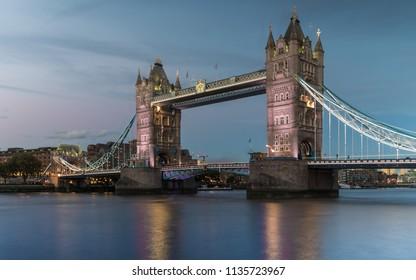London, Middlesex / England - 05.12.2015 Tower Bridge at night