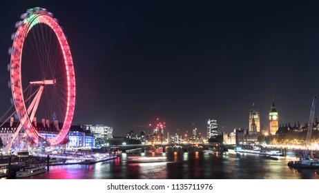 London, Middlessex / England - 04.12.2016 London Eye at night