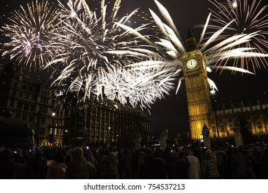 London New Year's Eve Fireworks over Big Ben at Midnight, Crowds Present