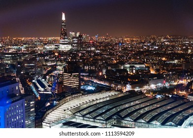 London night aerial drone downtown station view