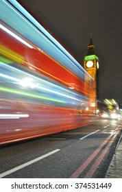 London at night - Big Ben and double decker bus