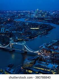 London Night Looking East Toward Tower Bridge, River Thames, Canary Wharf.