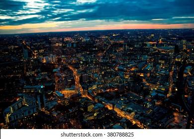 London Night Looking West Towards London Eye, Waterloo, Battersea.