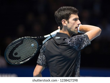 London, North Greenwich / England, 11/12/2018: Nitto ATP Finals 2018 at the O2 Arena. World number 1 Novak Djokovic (SRB) in action against Isner on Day 2 of the tennis finals.