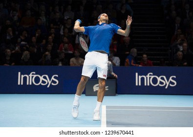 London, North Greenwich / England, 11/13/2018: Nitto ATP Finals 2018 at the O2 Arena. Roger Federer (SUI) plays Thiem on Day 3 of the tennis finals.