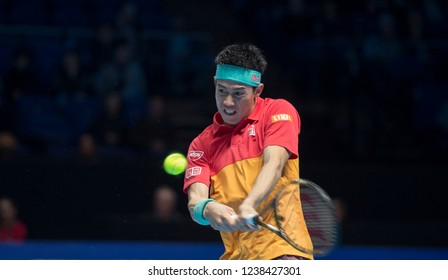 London, North Greenwich / England, 11/15/2018: Nitto ATP Finals 2018 at the O2 Arena. Kei Nishikori (JPN) in action against Thiem on Day 5 of the tennis finals.