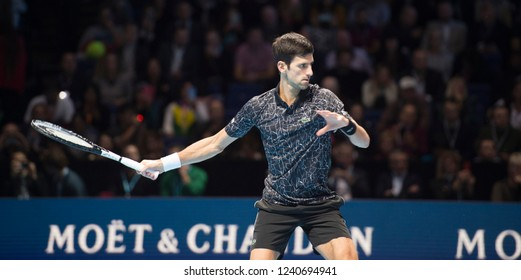 London, North Greenwich / England, 11/18/2018: Nitto ATP Finals 2018 at the O2 Arena. World number 1 Novak Djokovic (SRB) in action against Zverev for the Singles Championship.