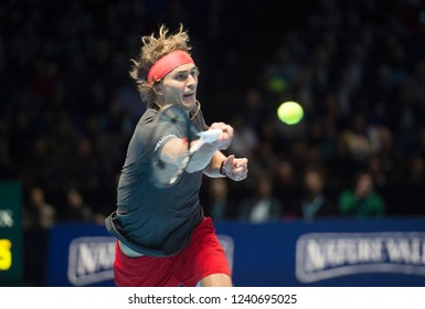 London, North Greenwich / England, 11/18/2018: Nitto ATP Finals 2018 at the O2 Arena. Alexander Zverev (GER) in action against Djokovic for the Singles Championship.