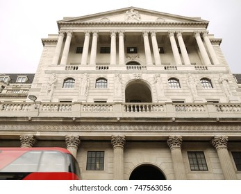 LONDON - NOV 02, 2017: Bank of England, Threadneedle St. For the first time in more than 10 years the Bank of England has raised interest rates.