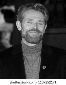LONDON - NOV 02, 2017: ( Image digitally altered to monochrome ) Willem Dafoe attends the Murder on the Orient Express film premiere