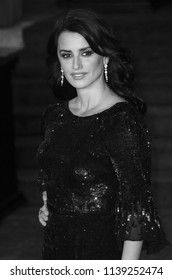 LONDON - NOV 02, 2017: ( Image digitally altered to monochrome ) Penelope Cruz attends the Murder on the Orient Express film premiere