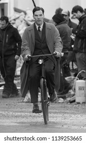 LONDON - NOV 03, 2013: ( Image digitally altered to monochrome ) Benedict Cumberbatch filming scenes for The Imitation Game
