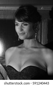 LONDON - NOV 08, 2017: Gemma Arterton ( Image digitally altered to monochrome ) attends the 100 Streets film premiere at the BFI on Nov 08, 2017 in London