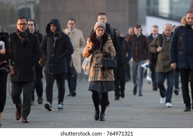 LONDON - NOV 129: London Bridge at rush hour people going to work on November 29th, 2017 in London, England.