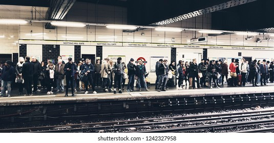 LONDON - NOV 17 : Inside view of London Notting Hill Gate tube station, covered by Central & District Line, boundary of  Zone 1 and Zone 2 on Nov 17, 2018, London, UK.