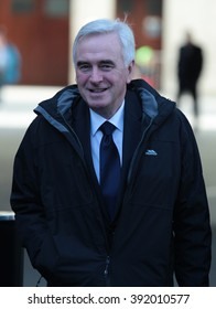 LONDON - NOV 22, 2015: John McDonnell, British Labour Party politician attends the BBC Andrew Marr Show at the BBC on Nov 22, 2015 in London