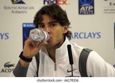 LONDON - NOV 24: Rafael Nadal Press Interview At The ATP World Tour November 24, 2010 O2 Building, Central London, England.