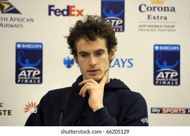 LONDON - NOV 27: Andy Murray Press Interview At The ATP World Tour November 27, 2010 O2 Building, Central London, England.