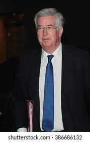 LONDON - NOV 29, 2015: Defence Secretary Michael Fallon attends the Andrew Marr show at the BBC on Nov 29, 2015 in London