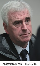 LONDON - NOV 29, 2015: John McDonnell British Labour Party Shadow Chancellor   attends the Andrew Marr show at the BBC on Nov 29, 2015 in London