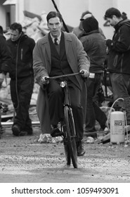 LONDON - NOV 3, 2013: ( Image digitally altered to monochrome ) Benedict Cumberbatch filming scenes for The Imitation Game