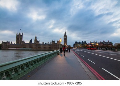 LONDON - NOV 4: The Big Ben , the Houses of Parliament and Westminster Bridge is the most famous tourist image of  London, England on Nov 4, 2011.