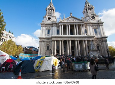 LONDON - NOV 4: Occupy London protest gather to protest for economic equality during the OccupyLSX protest at St Paul's in London, England on Nov 4, 2011.